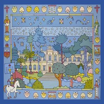 """Pano seda """"O Parlamento de Galicia"""" (azul)"""